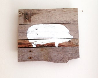 Pig Silhouette Sign (White) from Reclaimed Wood