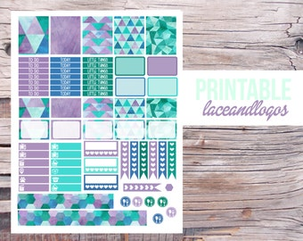 Printable Planner Stickers Watercolor Geometric Weekly Sticker Set   Happy Planner Glam Planning  Vertical KitFor Erin CondrenPlanner