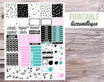Printable Planner Stickers 80s Doodles  Glam Planning Weekly Set Sticker Kit  Vertical  Happy Planner Instant DownloadFor Erin Condren