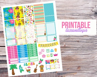 Printable Planner Stickers Luau Hawaii Aloha   Happy Planner Glam Planning Made Easy Colorful Weekly Kit Summer BeachFor Erin CondrenPlanner