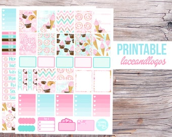 Printable Planner Stickers Watercolor Sweets   Happy Planner Glam Planning  Weekly Sticker Set Week Kit Pink BlueFor Erin CondrenPlanner