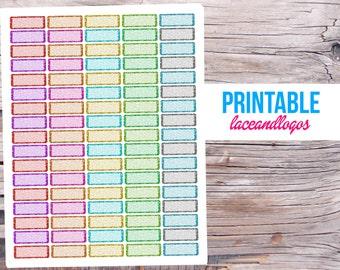 Printable Planner Stickers Glitter Quarter Box for Erin Condren MAMBI Happy Planner Glam Planning Sparkle Label White Out Write On PDF JPG