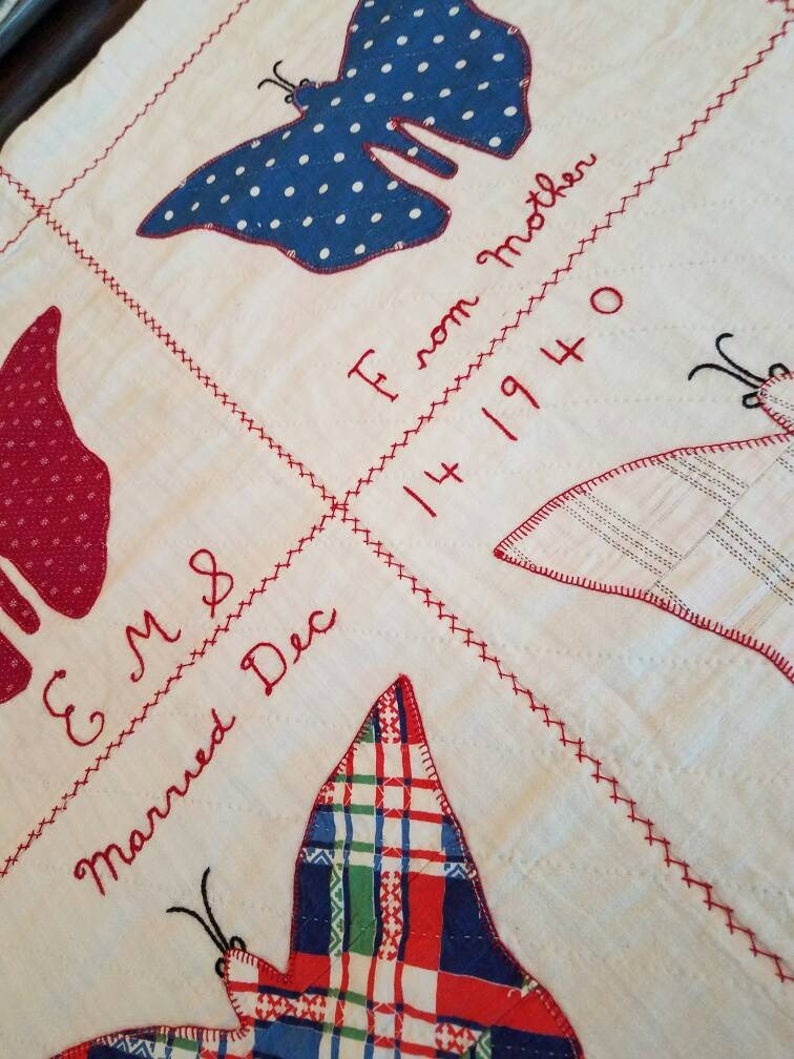 MOTHERLY LOVE Signed Hand Appliqued Butterfly Quilt with Feedsacks VINTAGE 1940