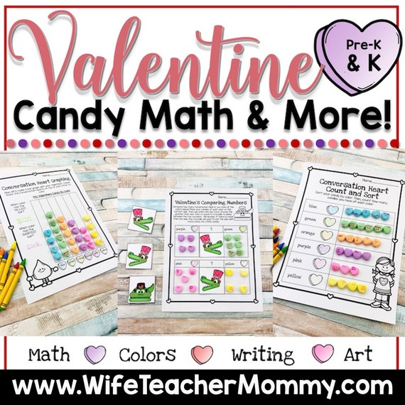 Valentine's Day Candy Heart Math & More for Pre-K and
