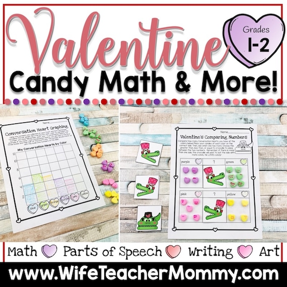 Valentine's Day Candy Heart Math & More for 1st and 2nd