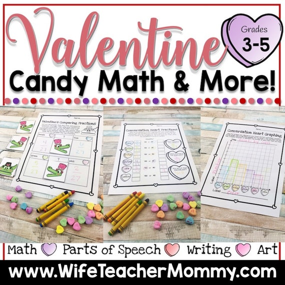 Valentine's Day Candy Heart Math & More for 3rd 4th and