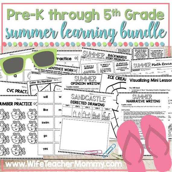 Pre-K through 5th Grade Summer Review BUNDLE ALL GRADES