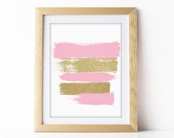 "Abstract Art Glitter Gold and Pink  Bedroom Art / Nursery Prints Art /  Artwork Print"" Girls Nursery artwork 5x7"" and 8x10"""
