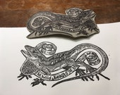 Lizard printmaking print blockprint linocut