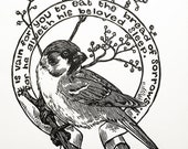Sparrow Psalm 127 bird art St Francis biblical art religious art