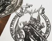 Stigmata St Francis pierced flowers linocut blockprint printmaking