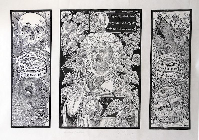 St Francis linocut block print printmaking image 0