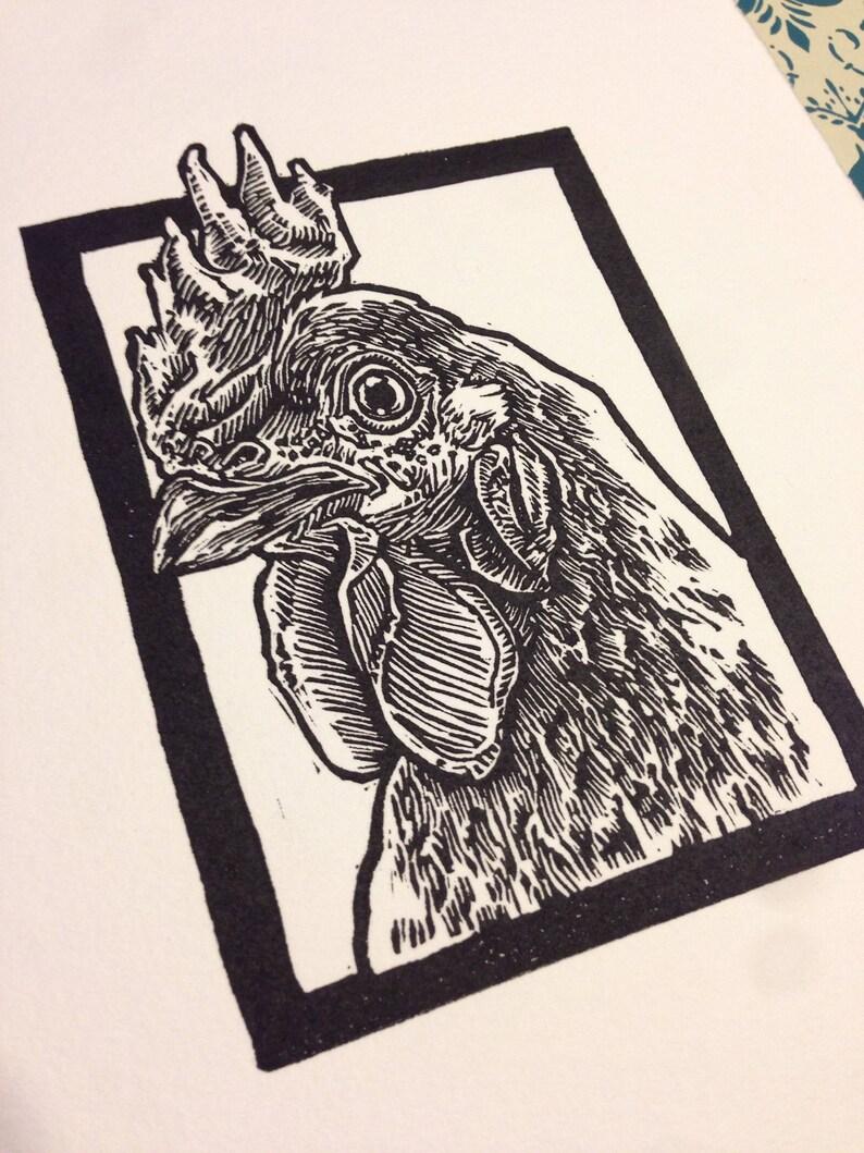Rhode Island Red: Linocut original hand-pulled relief print image 0