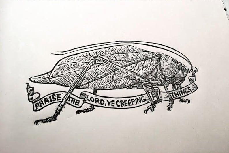 Praise the LORD ye Creeping Things Psalms Biblical Art katydid image 0