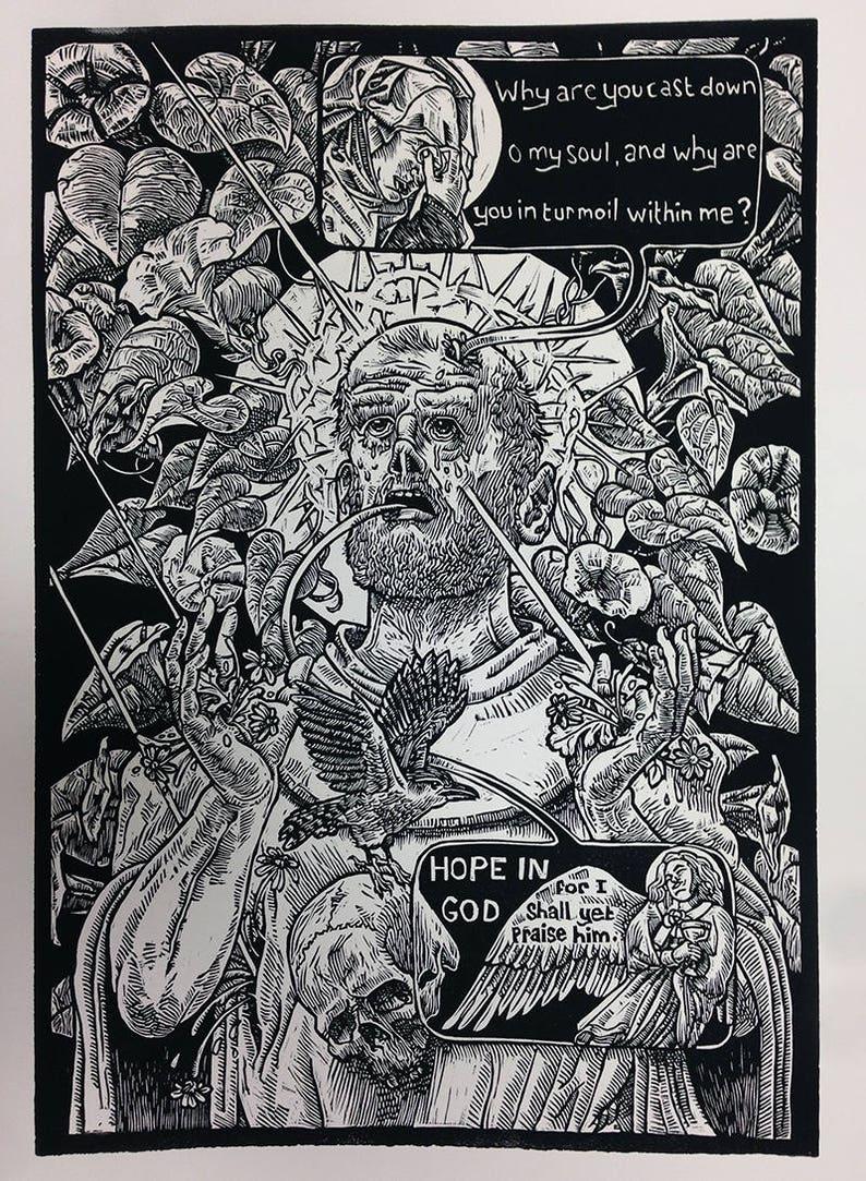 St. Francis religious art Christian skull memento mori Psalms image 0