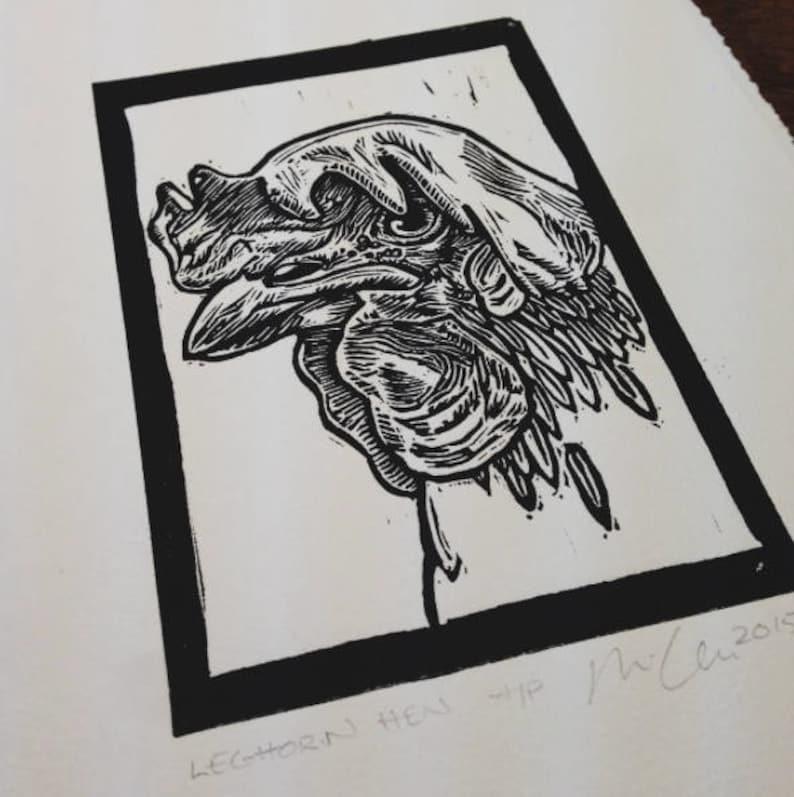 Leghorn Hen: Linocut original hand-pulled relief print image 0