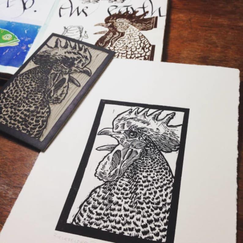 Bielefelder Rooster: Linocut original hand-pulled relief print image 0
