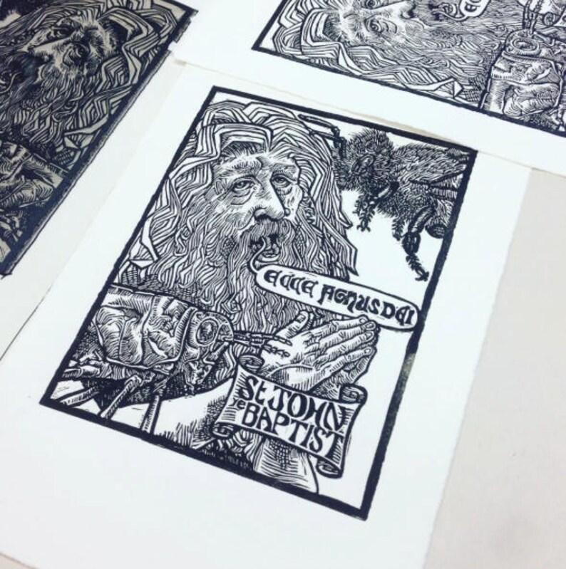 St John the Baptist: Linocut original hand-pulled relief art image 0