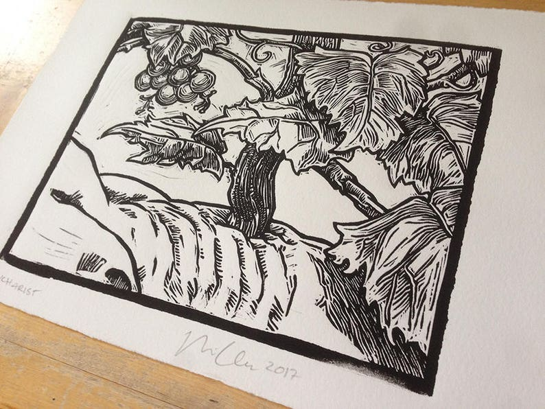 Eucharist: linocut original hand-pulled relief print image 0
