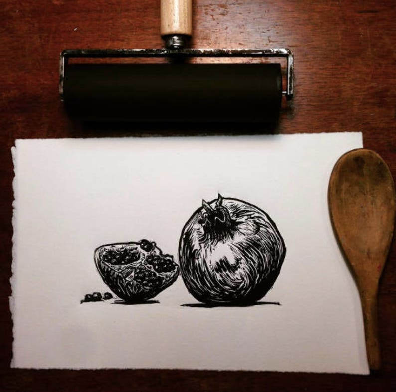 Pomegranate: Linocut original hand-pulled relief print image 0