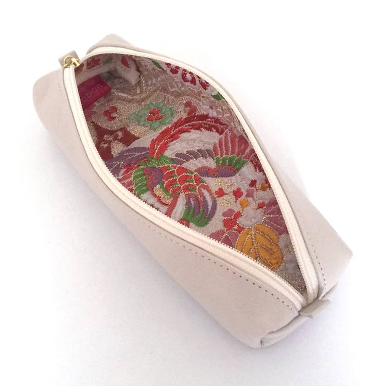 Kimono Brocade Leather pen case with Japanese Traditional pattern