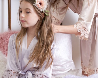 7d653468a62 Lace Flower Girl Robe - Flower Girl Gift - Junior Bridesmaid Robe - Robes  Set - Gift Set - Satin Robe - Bridesmaid Gift - Bridal Party Robes