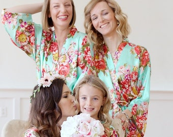 4733729c7655b Mint Robes - Mint Floral Robe - Mint Party Robe - Mint Satin Robe -  Bridesmaid Gift - Mint Wedding Robe - Getting Ready Robe - Monogrammed