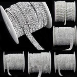 Clear Crystal Rhinestone Diamond Bling Trim Metal Cup Close Chain 1 2 3 4 5 Row SS12 Silver - Sold Per Yard or Spool