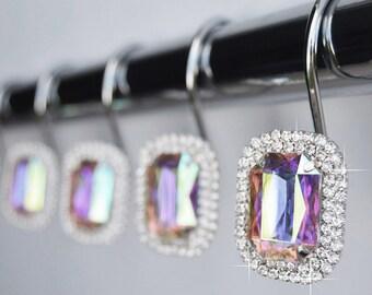 12 Pc Shower Curtain Bathroom Hooks Rings Rainbow Crystal Rhinestones
