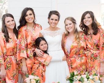 534760134 Bridesmaid Robes / Bridesmaid Gift / Floral Robe / 15 COLORS / Bridal Party  Robes / Set of Robes / Satin Robe / Wedding Robe / Wedding Favor