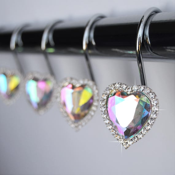 Shower Curtain Hooks Rings Heart AB Multi Iridescent Color