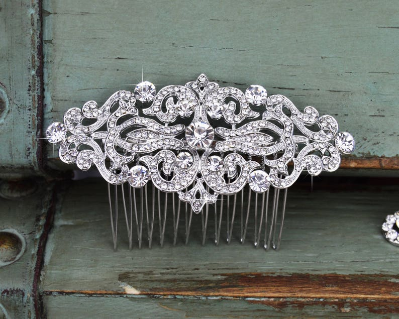 Crystal Wedding Hair Comb Rhinestone Bridal Comb Silver image 0