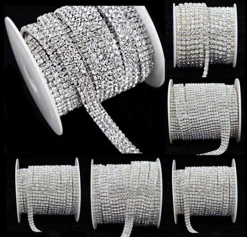 Clear Crystal Rhinestone Diamond Bling Trim Metal Cup Close image 0