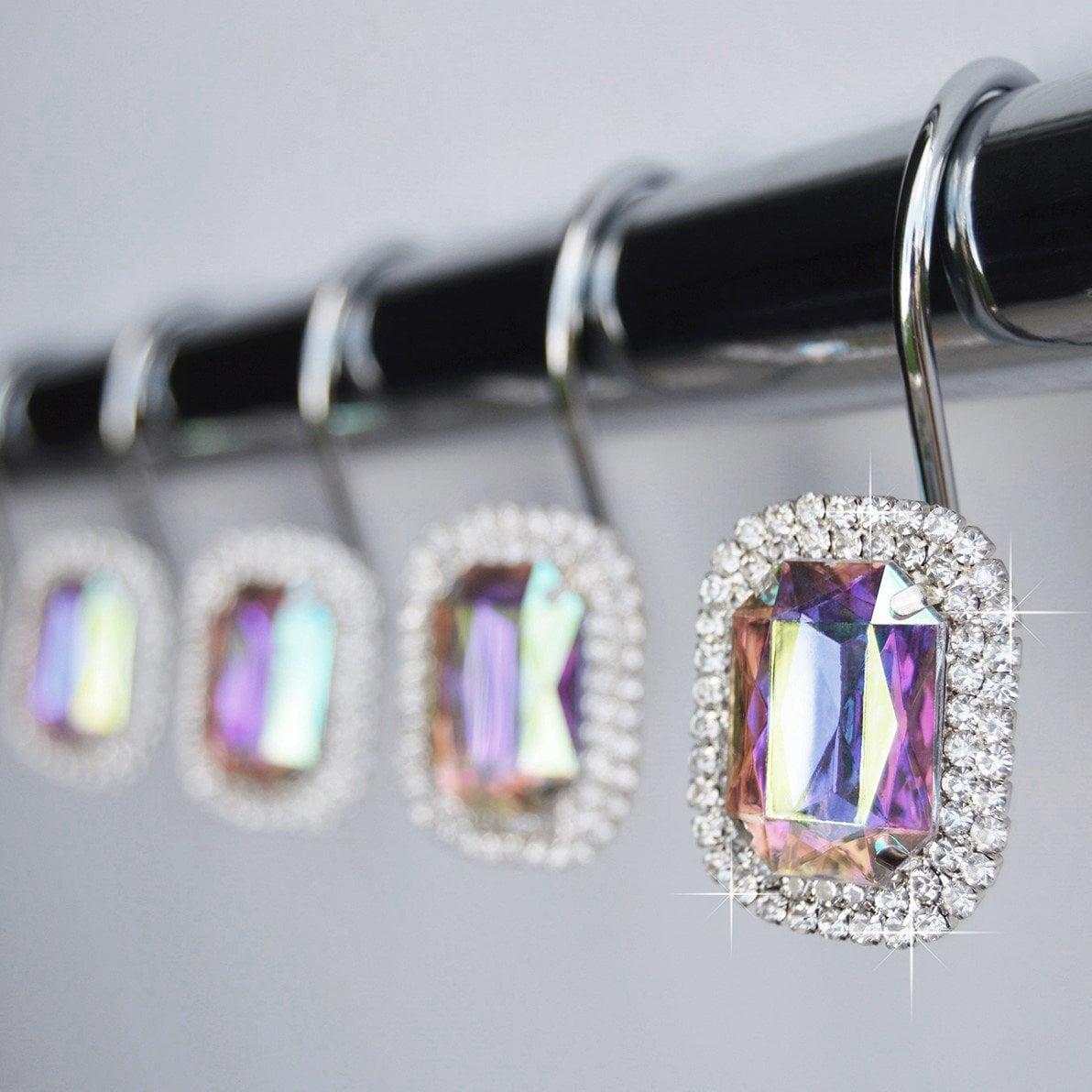 Shower Curtain Hooks Rings Luxurious Ab Multi Color Rainbow Iridescent Decorative Crystal Diamond Rhinestone Bathroom Set Of 12