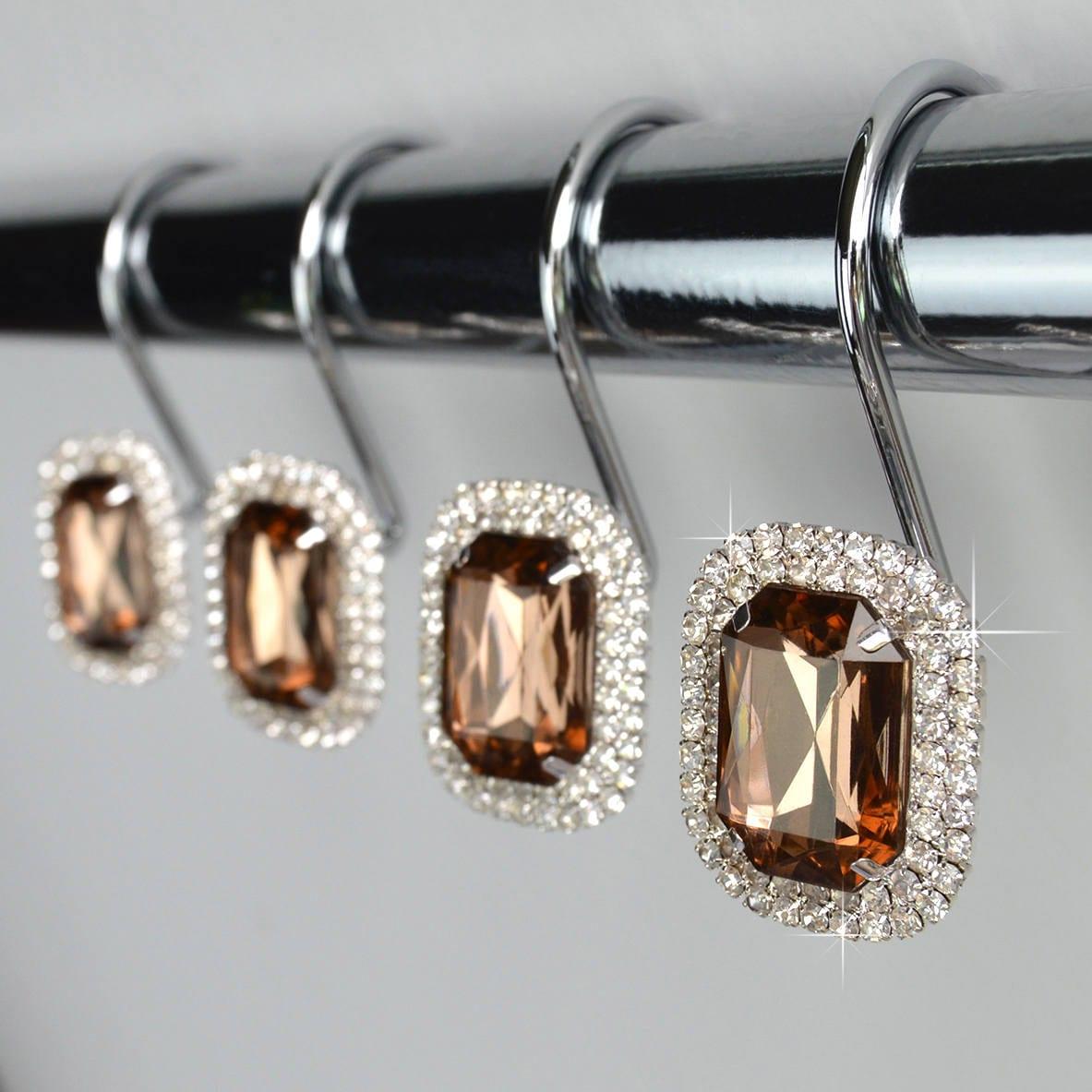 Shower Curtain Hooks Rings Luxurious Brown Decorative Crystal Diamond Bling Rhinestones Bathroom Bath Set Women Girls Gift