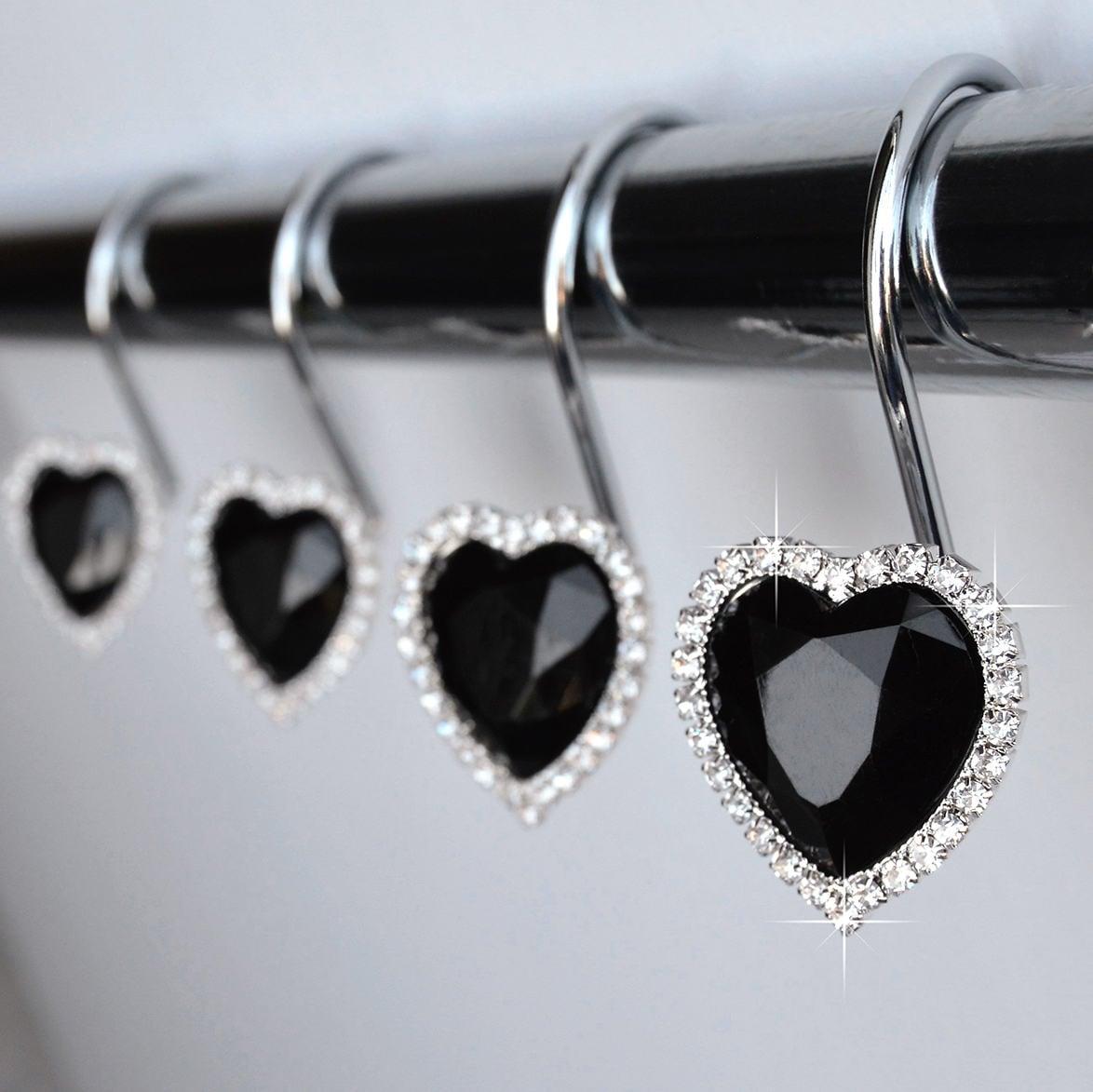 shower curtain hooks rings heart black decorative gems and etsy. Black Bedroom Furniture Sets. Home Design Ideas