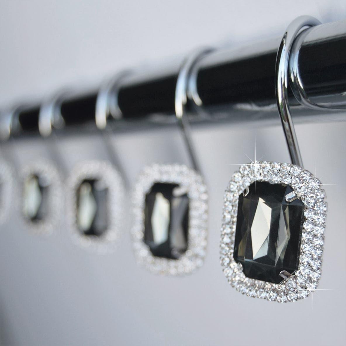 Shower Curtain Hooks Rings Luxurious Gray Decorative Crystal Diamond Bling Rhinestones Bathroom Bath Gift Set Of 12