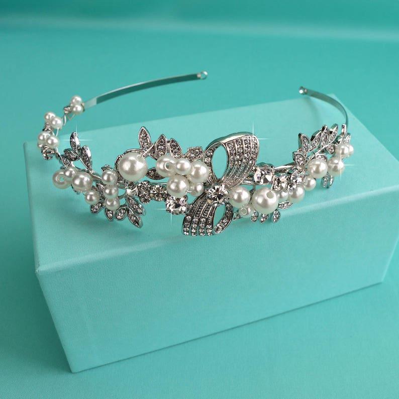 TI-018 Silver Wedding Tiara Bridal Hair Accessory Crystal /& White Pearl Bridal Side Headband Crystal Headpiece Rhinestone Crown