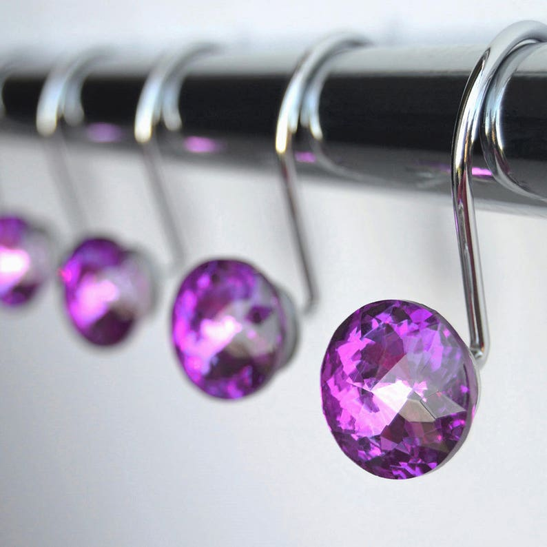 Shower Curtain Hooks Rings Purple Glass 1 Cute