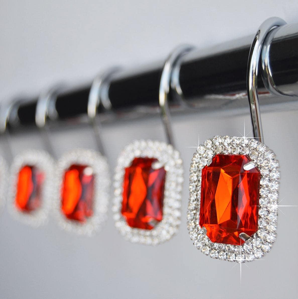 Shower Curtain Hooks Rings Luxurious Red Decorative Crystal Diamond Bling Rhinestones Bathroom Bath Gift Set Of 12