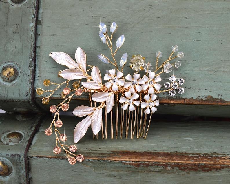 Floral Bridal Hair Comb Gold Wedding Hair Comb  Rhinestone image 0