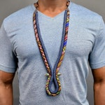 Men's Jean Tribal Corded Necklace -  Mens african Necklace - Mens African Jewelry - Mens Ankara Necklace  - Mens Tribal Jewelry Kente