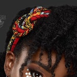 The Red and Aztec 3 Strand Knotted Headband - African Wax Print