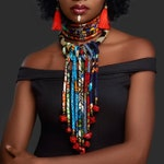 Sunkissed Marula Kente Choker & Dahlia Drop Bib Necklace Set - African Necklace - Bohemian Necklace