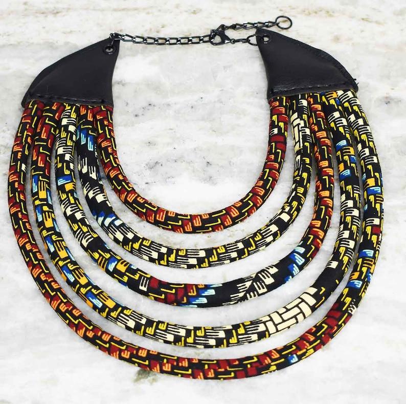 Afrocentric Jewelry Ketepa 5 Strand Bib Necklace The Monarch African Bib Necklace African Jewelry Necklace Ketepa Print Jewelry