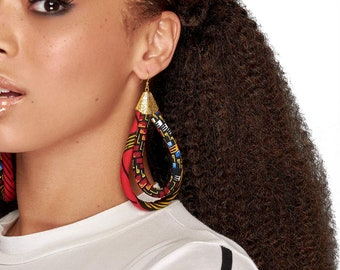 African Tribe Jewelry | Red Africa Earrings | Ankara African Double Loop Earrings | Ankara Print Earrings | African Hoop Earrings | Ethnic