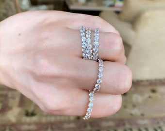 Full Cz Diamond Eternity Band, anniversary ring, bridal ring, stacking ring, full eternity band, stackable ring, engagement ring, promise