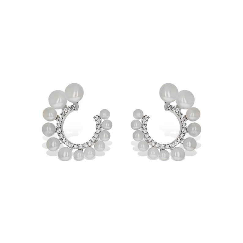 Pearl Wedding Earrings White Pearl Statement Earrings Gift Silver CZ Elegant Earrings Pearl Bridal Earrings Wedding Pearl Drop Earrings
