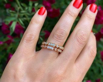 Diamond Stacking Ring, Art Deco White Gold, Rose Gold, Yellow Gold Ring, Wedding Band, Bridal Ring, Diamond Ring