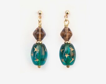 Teal Star Perfume Bottle Earrings, Post Earrings, Clip On Earrings